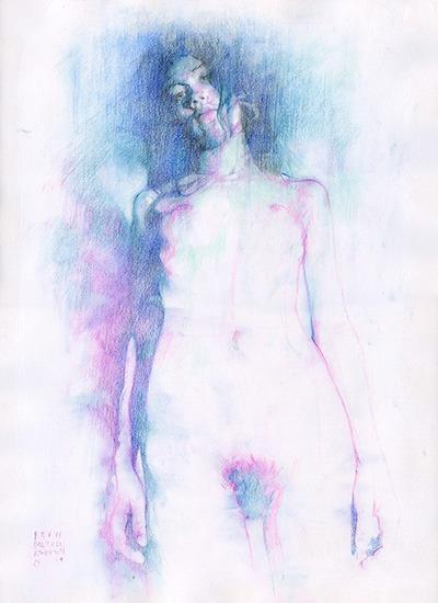 Klimtian-Nicla-Sketch-2019,-by-Bruce-Atherton-30x40cm-Pencil-on-Paper